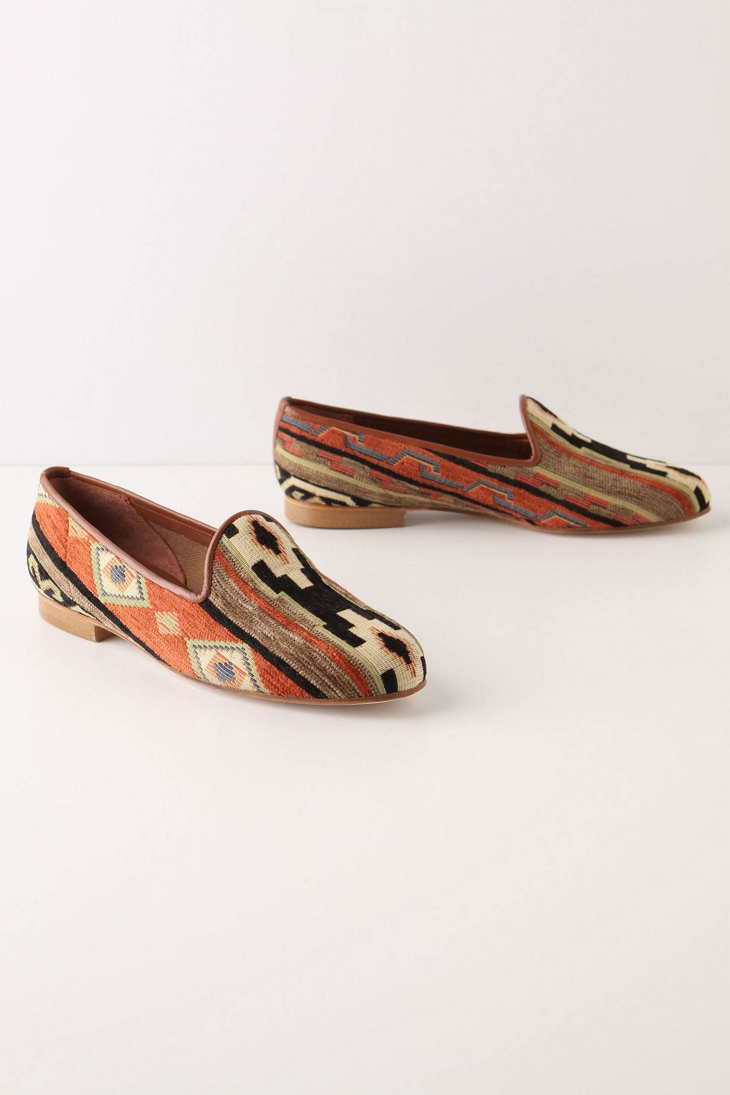 Chuska Loafers from Anthropologie: Landscape hues shade tribal-inspired tapestry on Zalo's flats. Made in Spain.