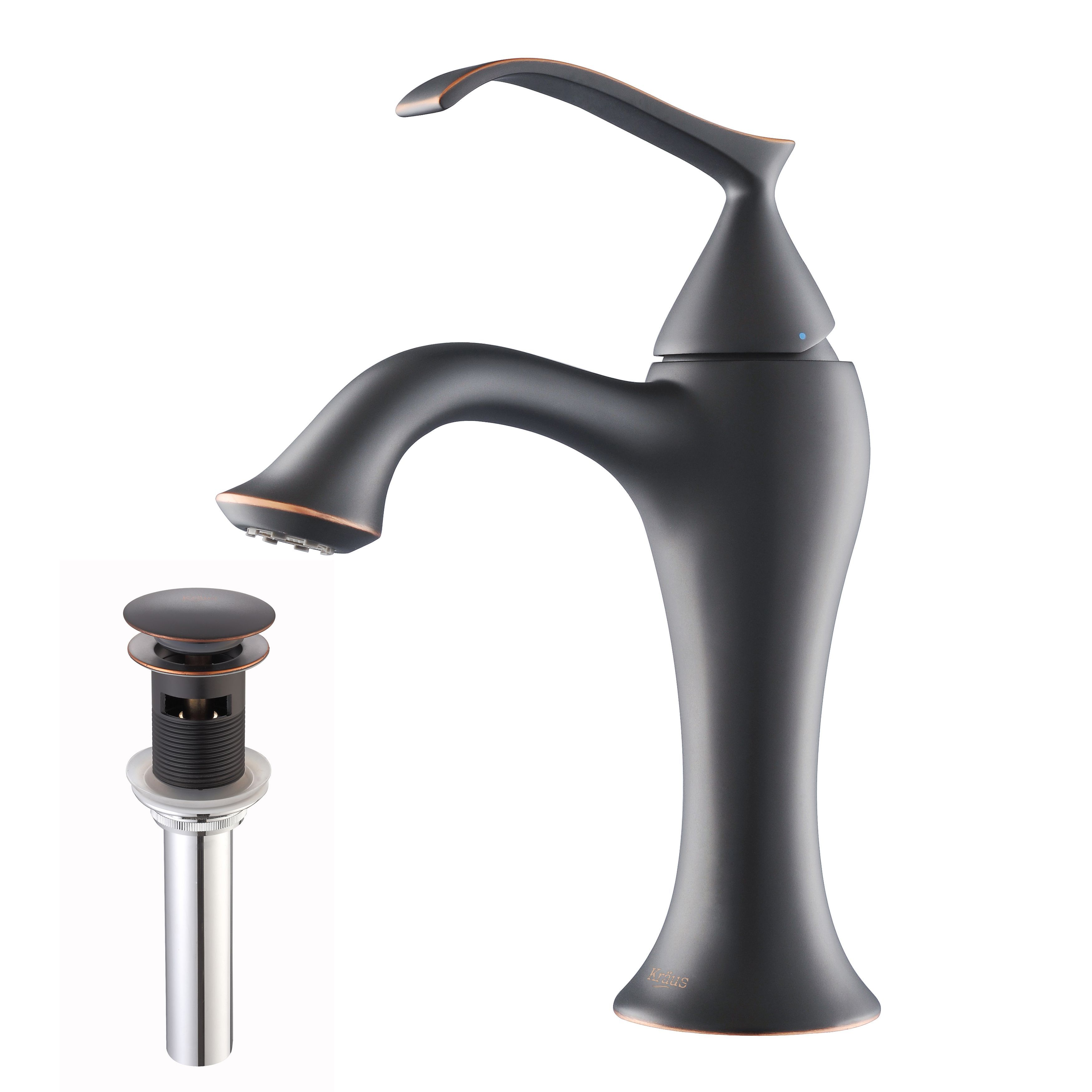 KRAUS Ventus Single Hole Single-Handle Bathroom Faucet with Matching ...