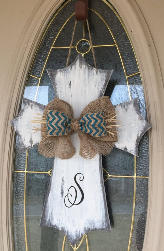 Distressed Rustic Wooden Cross Door Hanger Monogrammed Burlap Bow Easter Wall Decor Easter Home