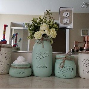 Baby Shower Mason Jar Centerpieces Baby Shower Mason Jars Centerpieces Mason Jar Decor Baby Shower Decorations Girl Rustic Baby Shower Decor #masonjarbathroom