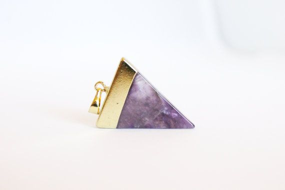 1 Piece - Amethyst Triangle Pendant - Gemstone Pendant - Stone Charm - Natural Stone Jewelry - Purple Pendant Gold Dipped Supplies / G-SP009