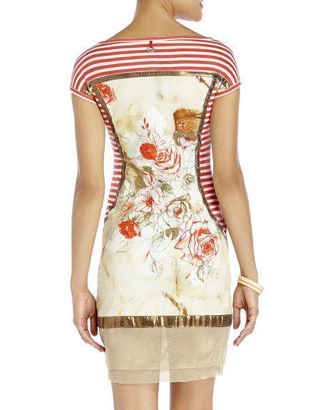 SAVE THE QUEEN Stripe Boatneck Sheath Dress