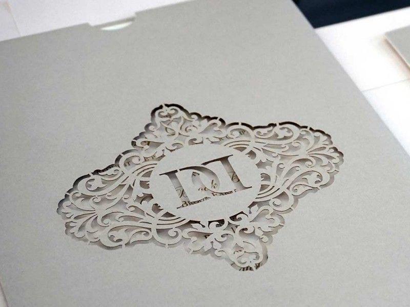 Bespoke Monogram Wedding Invitation Laser Cut 1