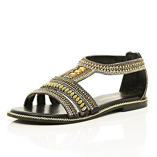 8534c50bff8a15 Black beaded sandals  riverisland