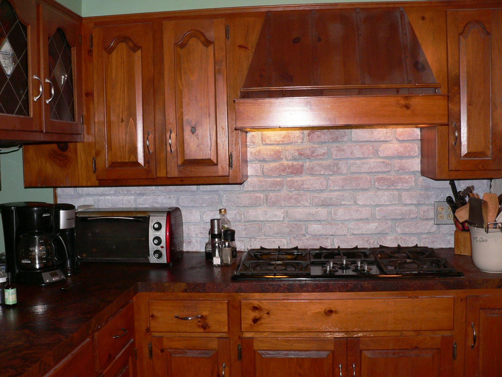 brick backsplash ideas. Brick Backsplash For kitchens | Whitewashing My Faux Backsplash Ideas