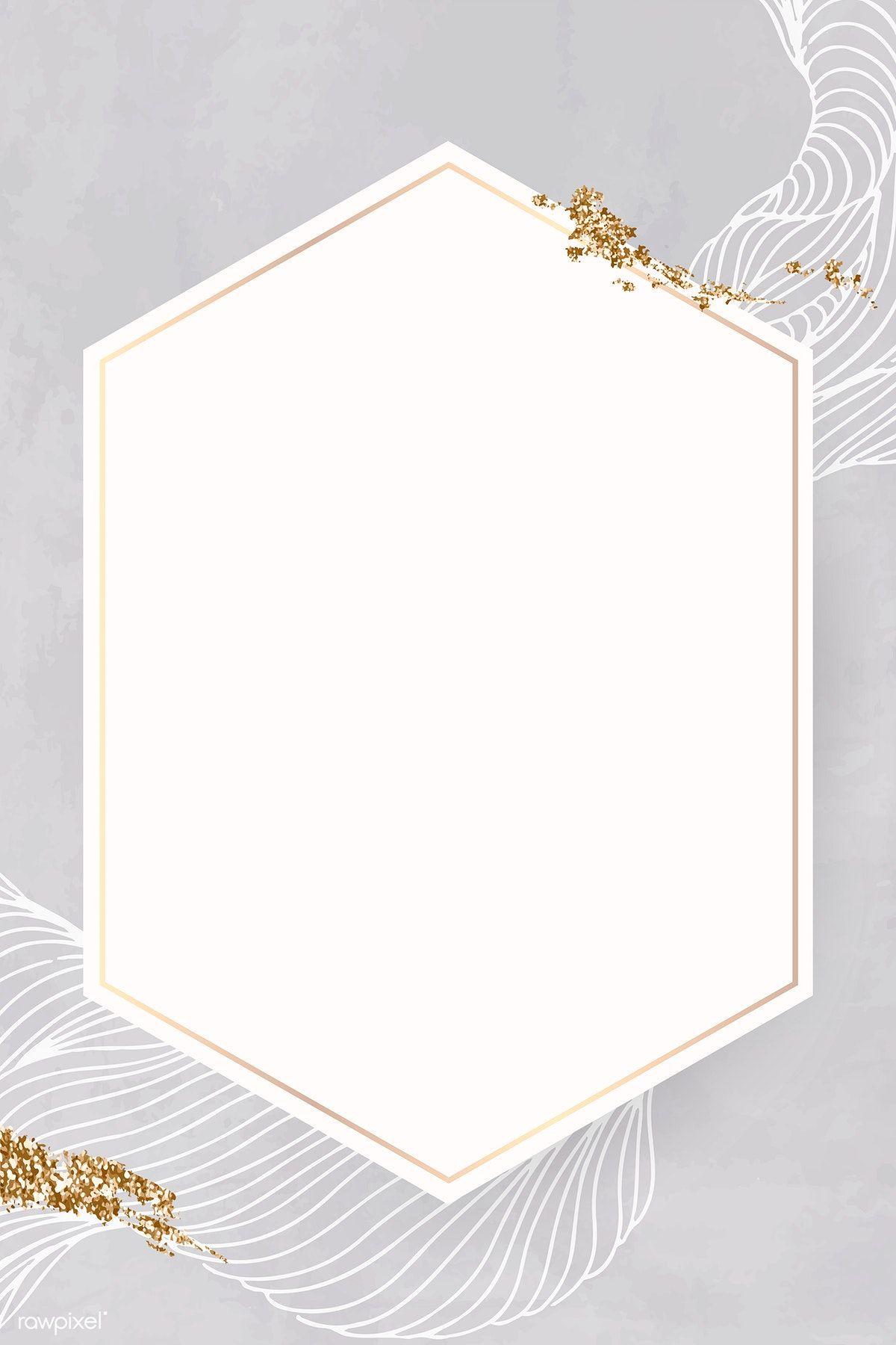 Golden Hexagon Line Frame Illustration Premium Image By Rawpixel Com Adj Vector Vectorart Digitalpainting Digit Floral Border Design Frame Design Frame