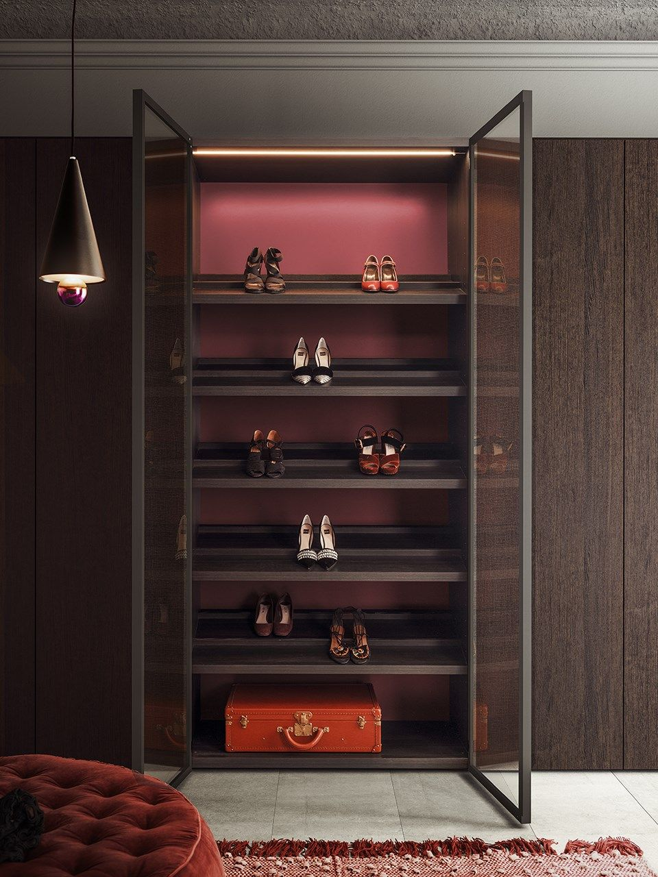 Lacquered Wood And Glass Wardrobe Milano By Pianca