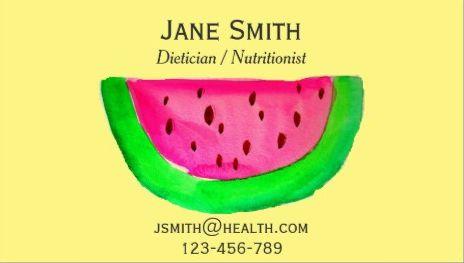 Cute pink watermelon on yellow dietician and nutritionist business cute pink watermelon on yellow dietician and nutritionist business cards http reheart Images