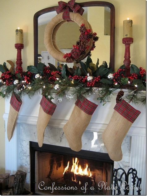 Burlap & Plaid Christmas - combine the rustic texture of burlap with classic red plaid. Lovely.