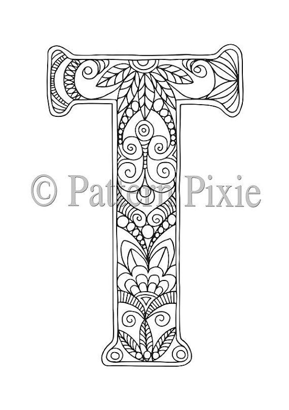 "Adult Colouring Page Alphabet Letter ""T"" 