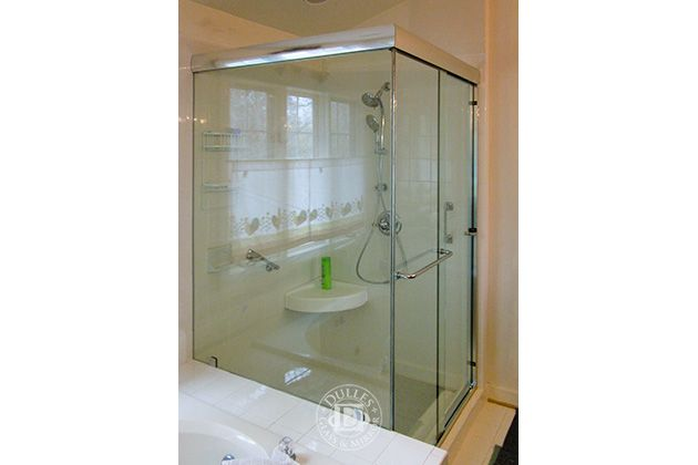 This Glass Shower Door Has Towel Bar 90 Degree Shower Semi