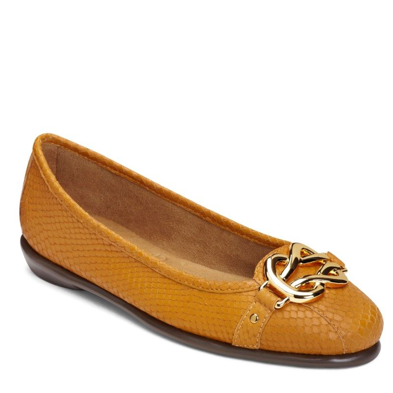 Aerosoles Women's High Bet Medium/Wide Flat Shoes (Yellow Snake)