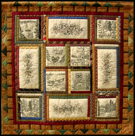 Among the Pines Quilt Pattern - 10 Hand Embroidery Blocks, Label & Quilt  Finishing Pattern - by Beth Ritter - Instant Digital Download