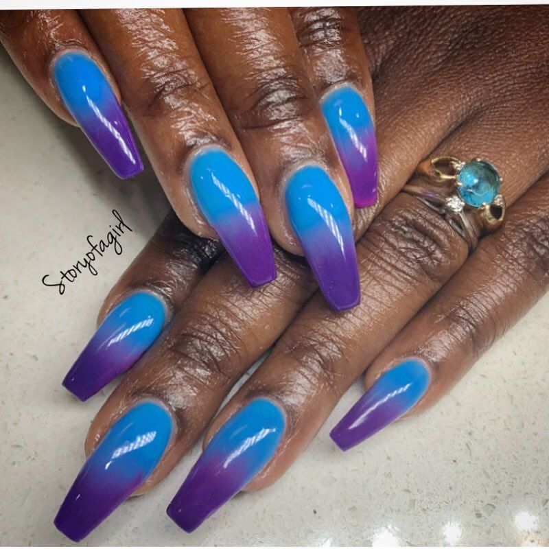 Storyofagirl On Instagram Blue And Purple Coffin Nails Blackgirlnails Blue Purple Nails Blue Coffin Nails Girls Nails