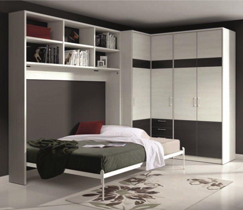 armoire lit escamotable athena avec dressing et rangements couchage 140 190cm best. Black Bedroom Furniture Sets. Home Design Ideas