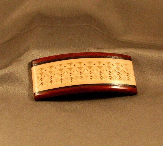 Old World Style Chip Carved Barrette by Widdlenspit on Etsy, $75.00