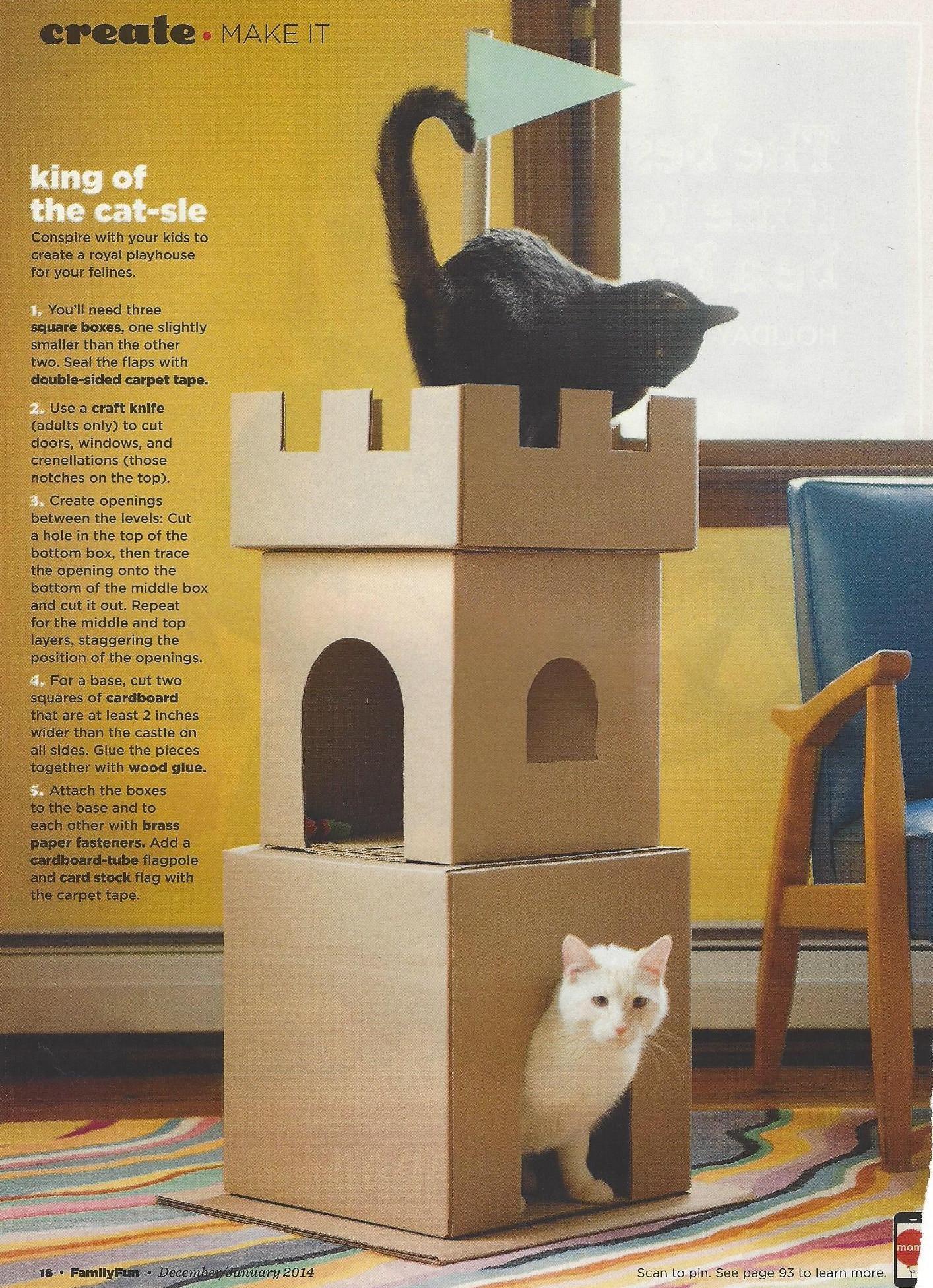 King Of The Castle Cardboard Cat House Cat Castle Crochet Cat Bed