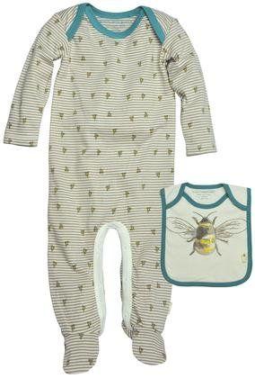 8e8c78c9d48 Burt s Bees Baby Striped Bee Print Coveralls (Baby) - Mushroom