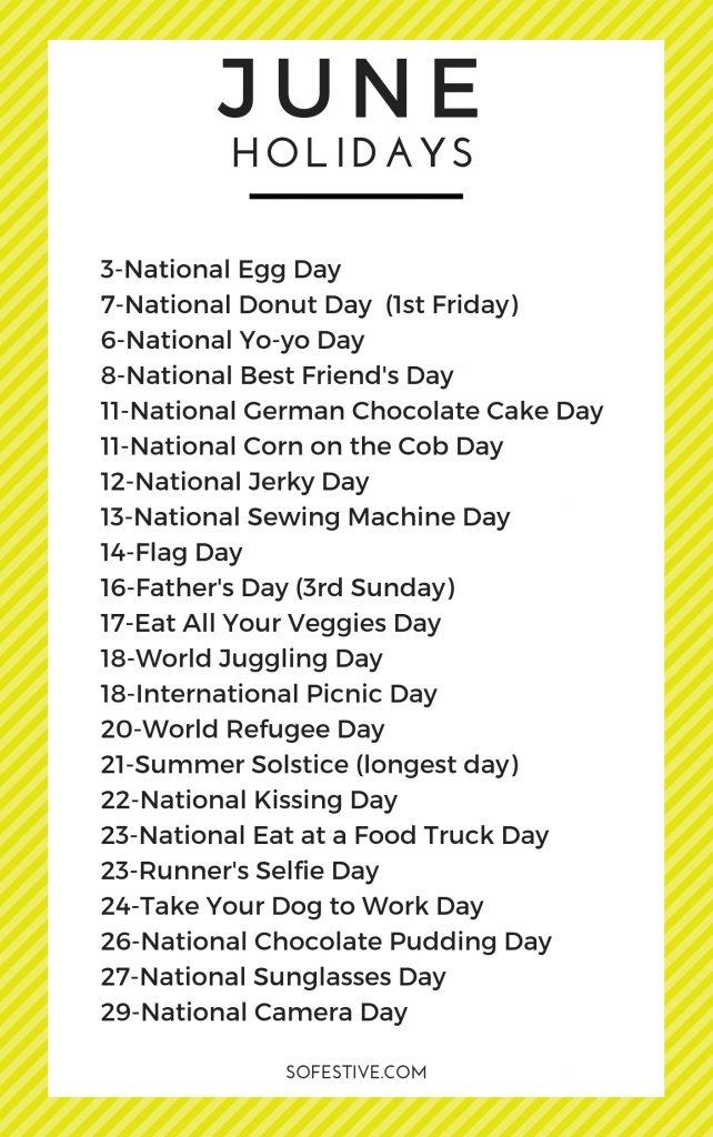 Images of National Calendar June 2021