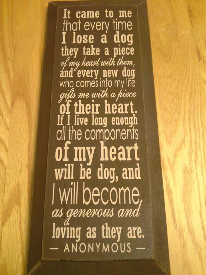 Dog's always in the heart tribute. Memorial