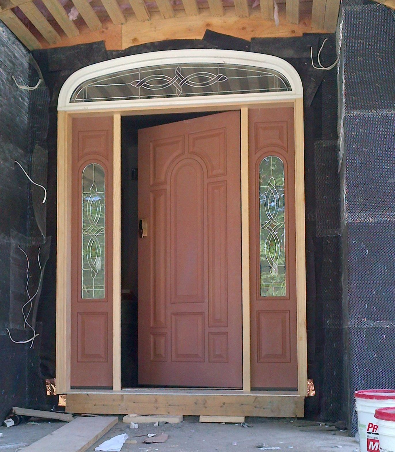 Entry doors with rectangular transoms 6 8 quot prehung - Therma Tru Door With Sidelights And Transom Exterior