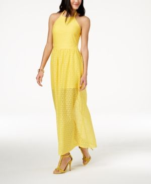 ba0fa6c32528 The Edit By Seventeen Juniors' Crocheted Maxi Dress, Created for Macy's -  Yellow 0