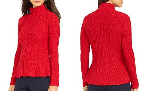 Lauren Ralph Lauren Cable Knit Peplum Sweater