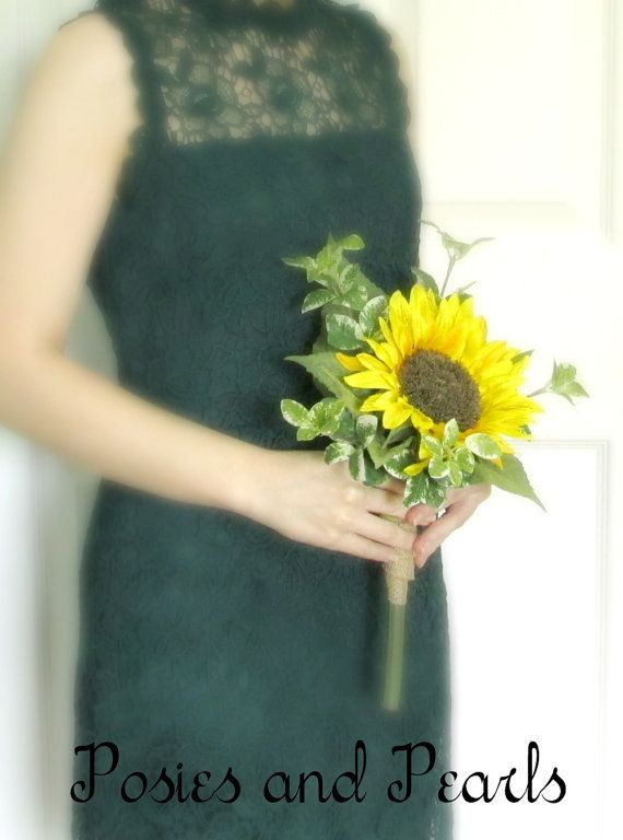 Single Stem Silk Sunflower Bouquet Large Yellow Sunflower