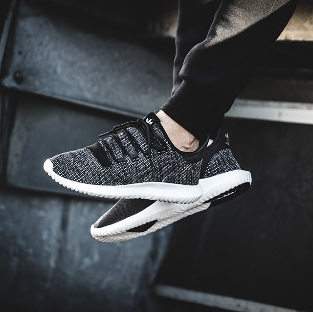 adidas tubular shadow black knit shoes
