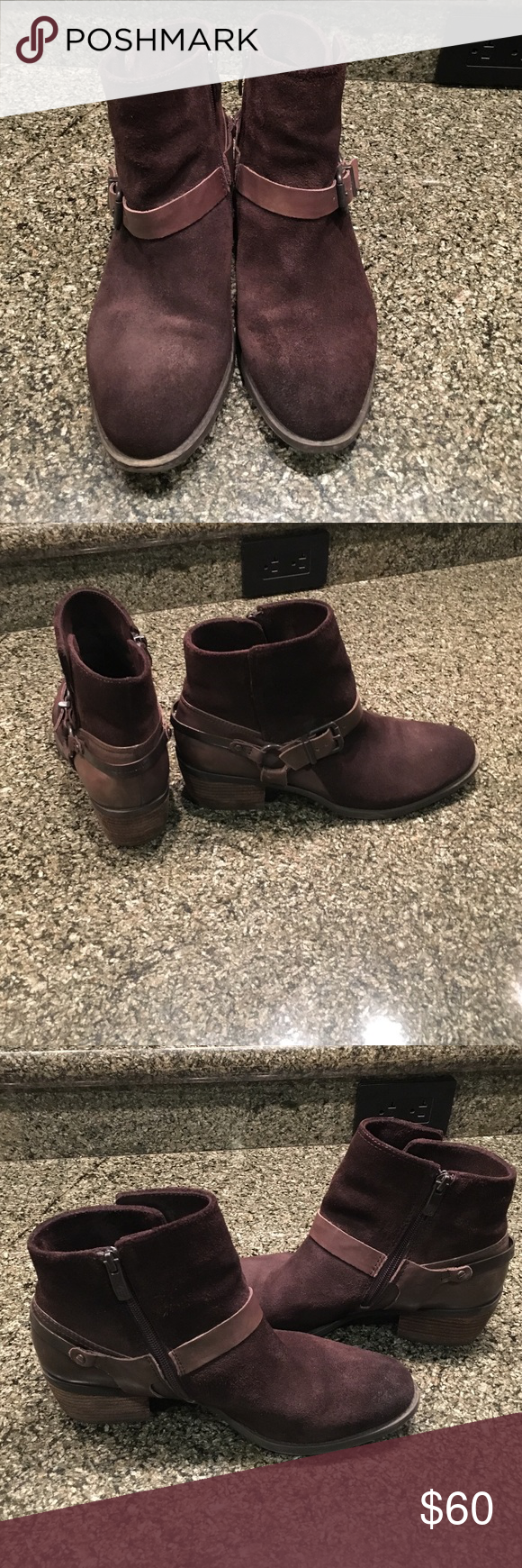 Vince Camuto boots Cute comfortable suede booties with the distressed look they have already been waterproofed. Vince Camuto Shoes Ankle Boots & Booties