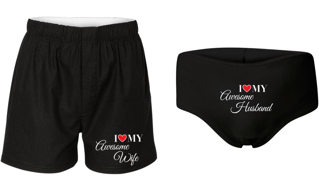 4b3b4f71ca I Love My Awesome Wife & Husband - Couple Matching Underwear ...