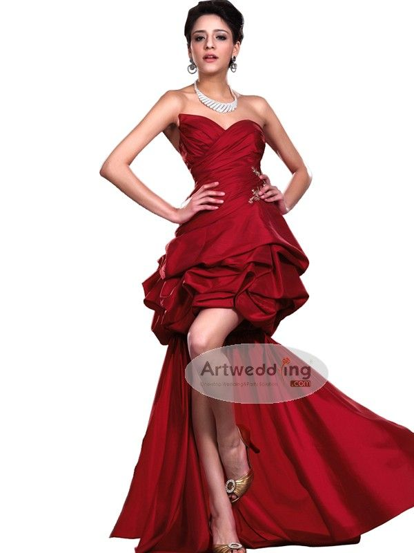 Chic Strapless Taffeta Cocktail Dress with Detachable Train