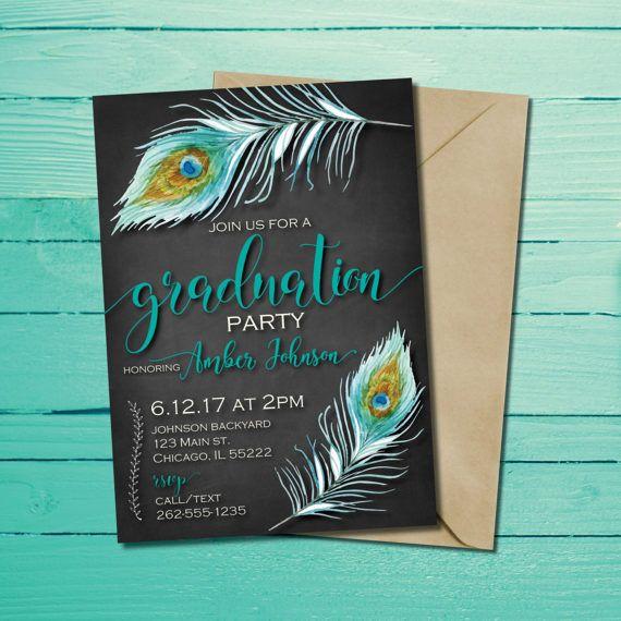 Peacock Feather Graduation Invitation Boho Chic Graduation Card