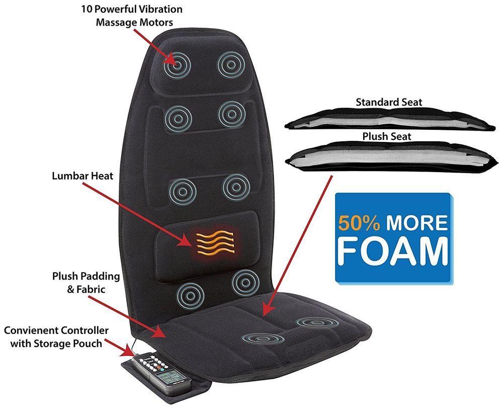 Seat Massage Heat Extra Foam 10 Motor Back Massager Car Office Chair Massage Seatmassageus Massage Cushions Massage Storage Pouch