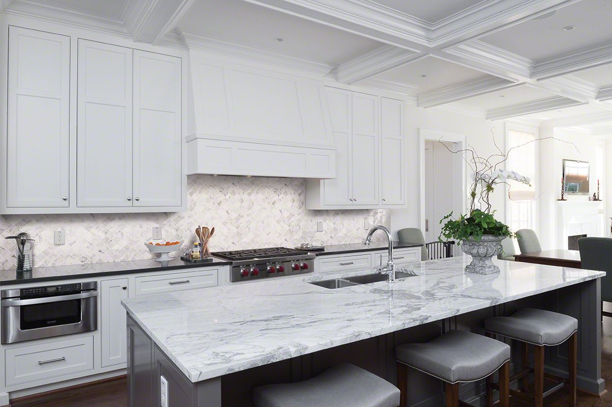 Honed Quartz Countertops Calacatta Cressa Arabesque Honed Residential Kitchens