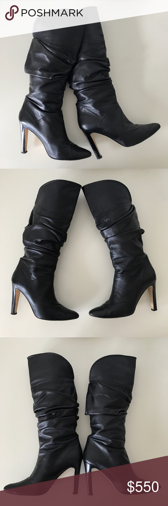 "Manolo Blahnik Ruched Black Leather Boots SZ 38.5 Beautiful and stylish! Gently worn with slight creasing at the toe which is not noticeable when the boots are on. Ruched, black Leather, leather soles and insoles. Could be worn folded over at the top (mid calf height about 15"" from heel to top) or unfolded(tall about 18"" from heel to top). Almond toe, pull-on style, 4"" covered heel. Size 38.5 Retail price: $1,650 plus TAX. Manolo Blahnik Shoes Heeled Boots"