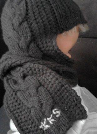 Bonnet avec écharpe intégrée marron   enfant   Enfant, Bonnet et Echarpe 135e1df6922