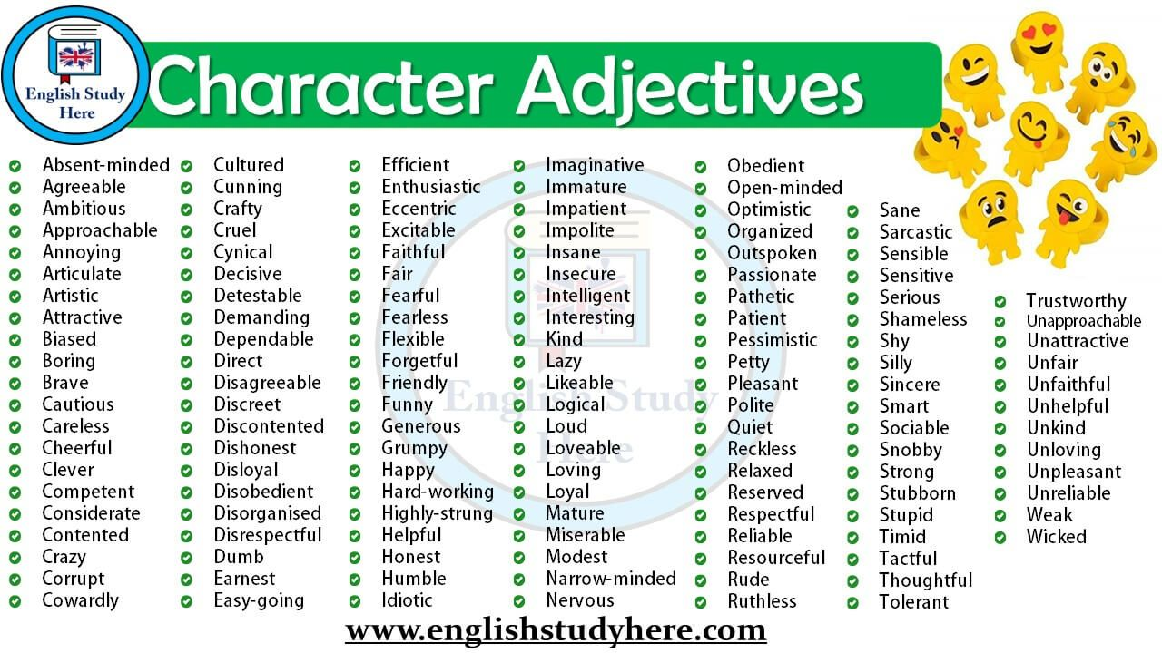 Character Adjectives In English With Images Words To Describe