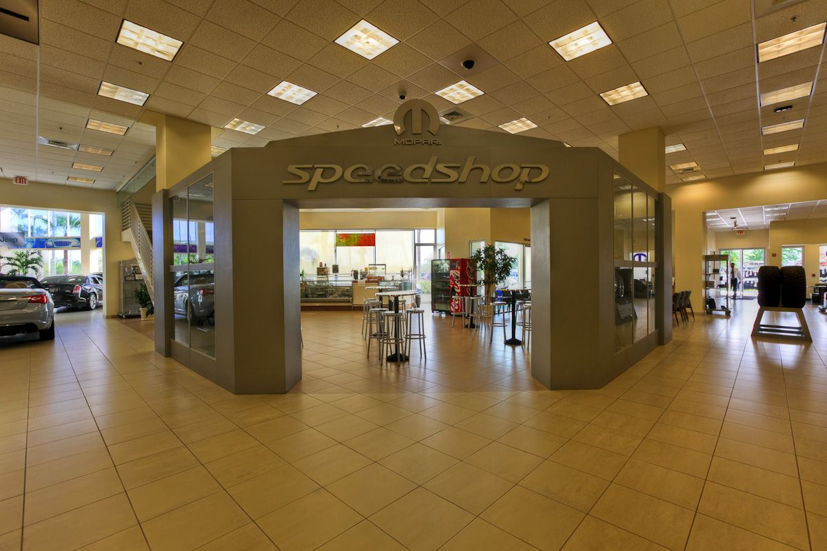 The Mopar Speed Shop and our customer cafe located behind