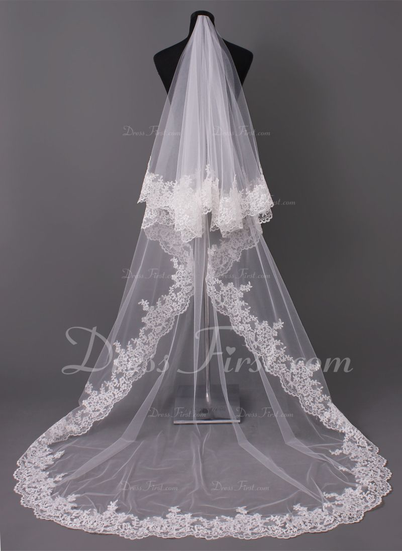 Cathedral wedding dress  Onetier Lace Applique Edge Cathedral Bridal Veils With Applique