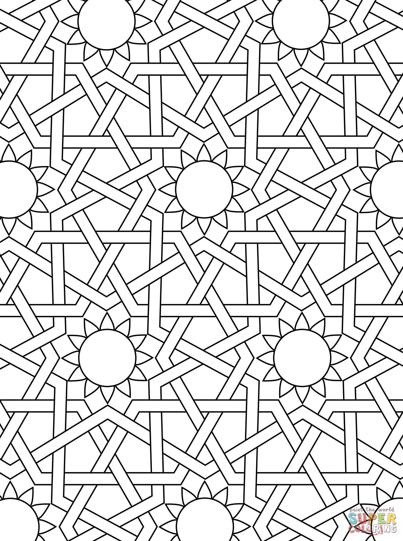 islamic ornament mosaic coloring page | art deco, tessellations