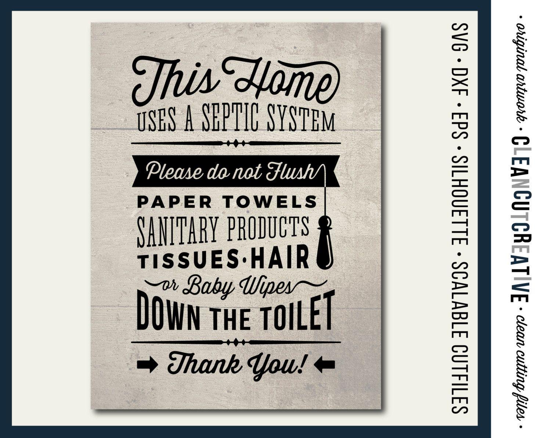 SVG Bathroom Sign Septic System - Do Not Flush bathroom svg toilet ...