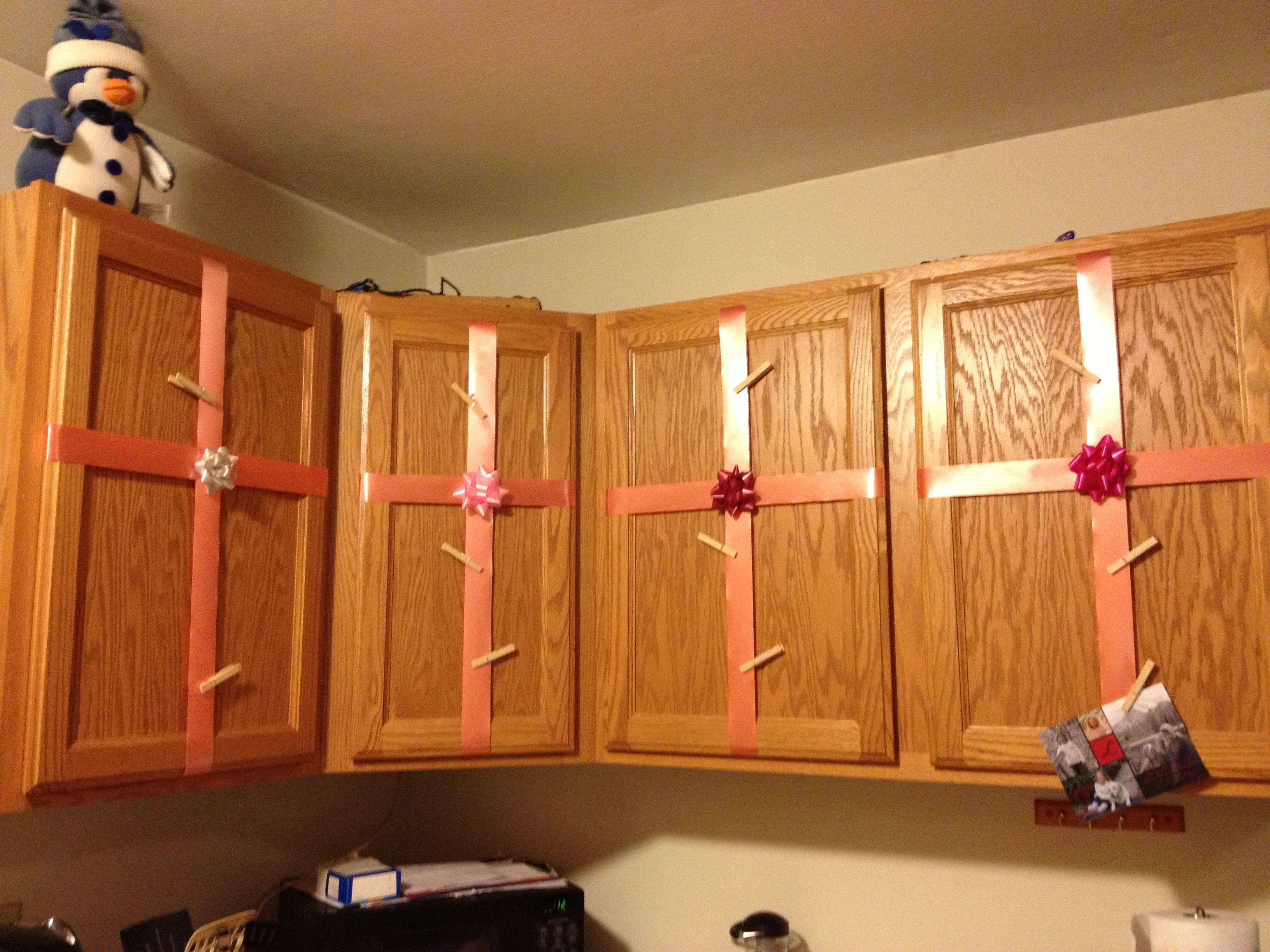 Wrapped Up My Cabinets To Hang My Christmas Cards On Them With