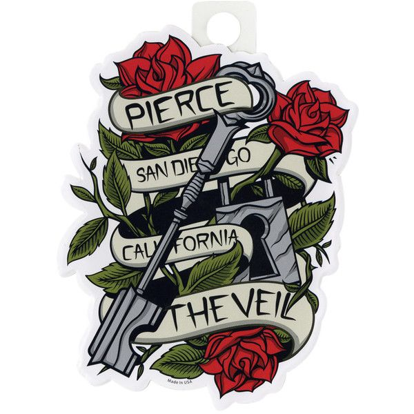 Pierce the veil banner rose key sticker hot topic 2 99 ❤ liked on