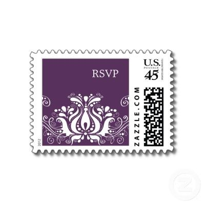 Ornamental Flourish In Eggplant Wedding Rsvp Postage  Cool that you can design your own postage!