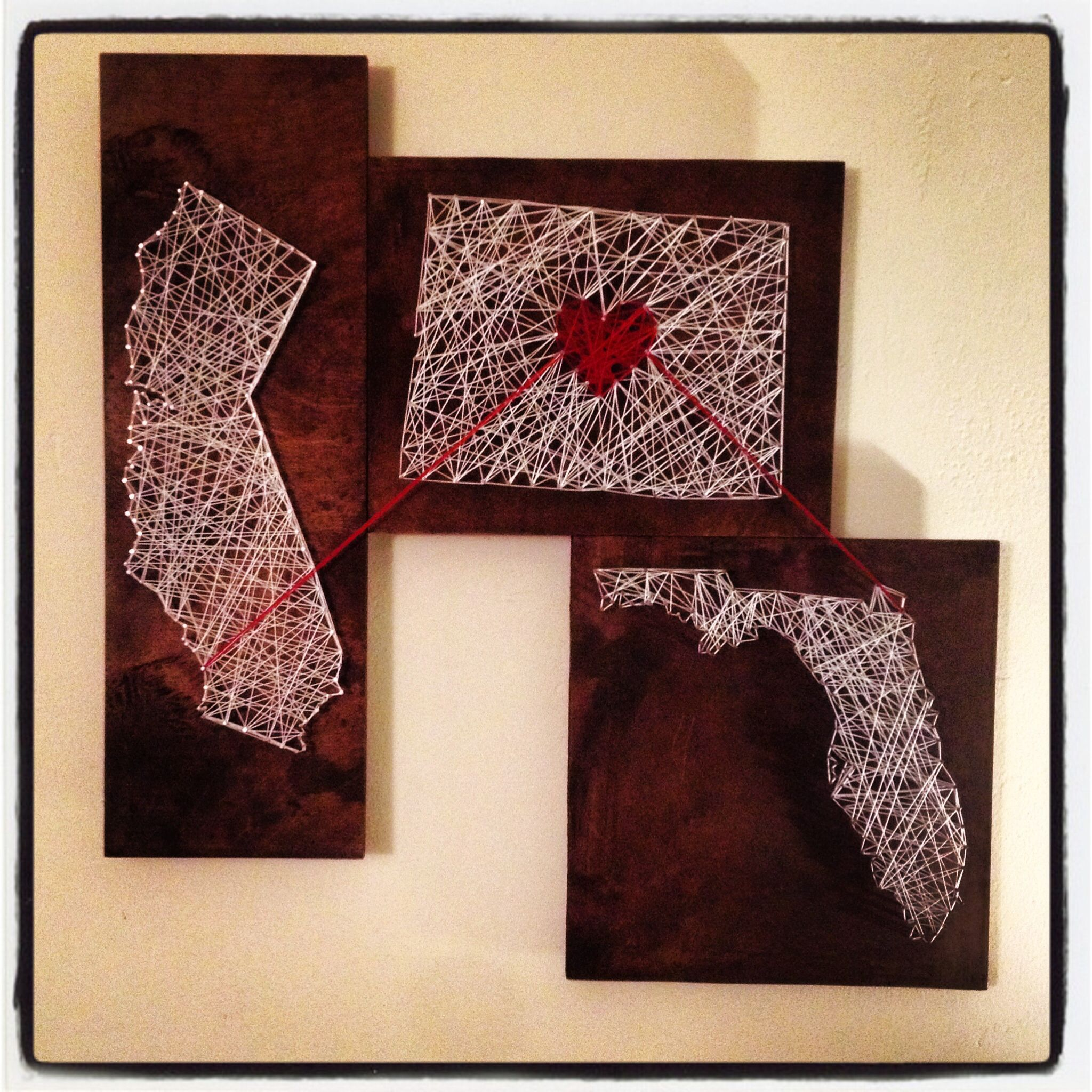 String Art! First one I ever made!      Wood, string, nails, art, california, Florida, colorado, dark stain