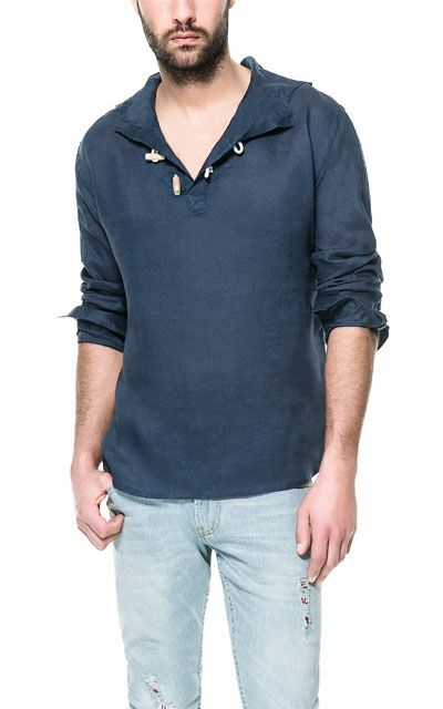 HOODED LINEN SHIRT WITH TOGGLES | for the hubs | Shirts, Casual ...