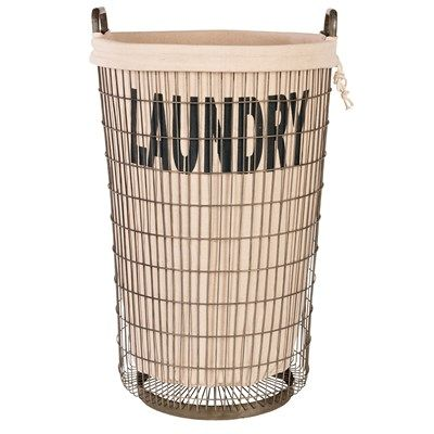 Aidan Gray Decor Wire Laundry Basket With Linen Wire Laundry