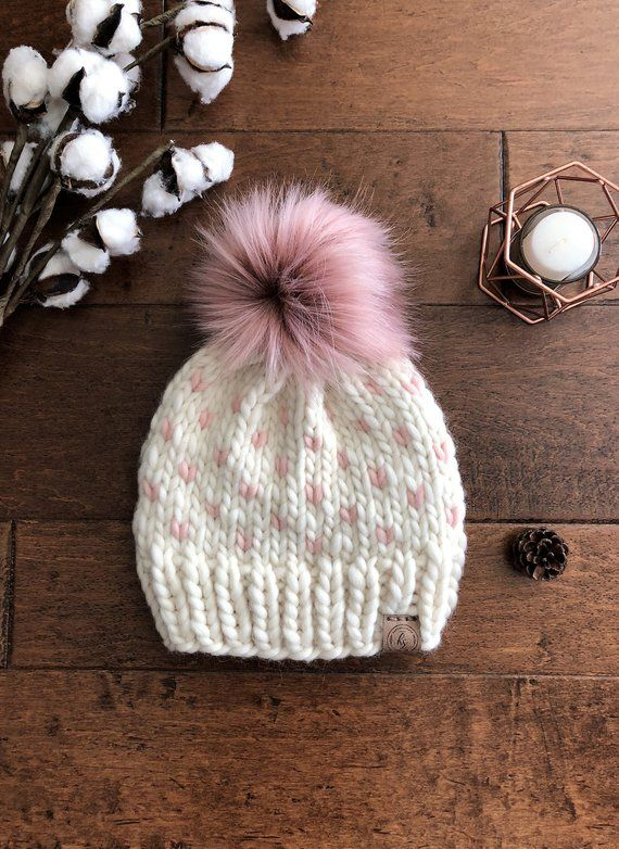 555c929ae Luxury Line/Ivory Mauve Adult Chunky Knit Fur Pom Pom Hat/Faux Fur ...