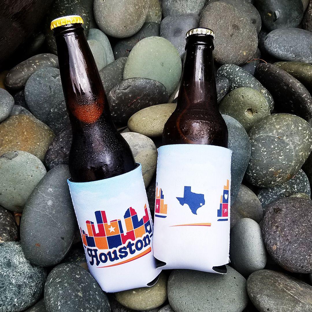 Houston skyline patchwork drink hugger houston texas